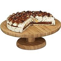 Relaxdays 10020545 Assiette à gâteau sur pied 33 cm bambou assiette à tarte plat de service rond H x D: 11,5 x 33 cm…