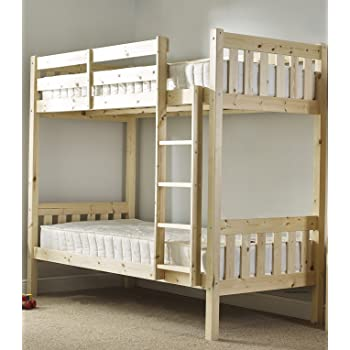 Comfy Living 2ft6 Shorty Single Wooden Bunk Bed In Natural Pine Zara