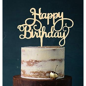 Manschin Laserdesign Cake Topper Happy Birthday Tortenstecker