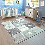 Paco Home Tapis Enfant Chambre Enfant Carreaux Pois Coeurs Étoiles Vert Pastel Gris, Dimension:80x150 cm