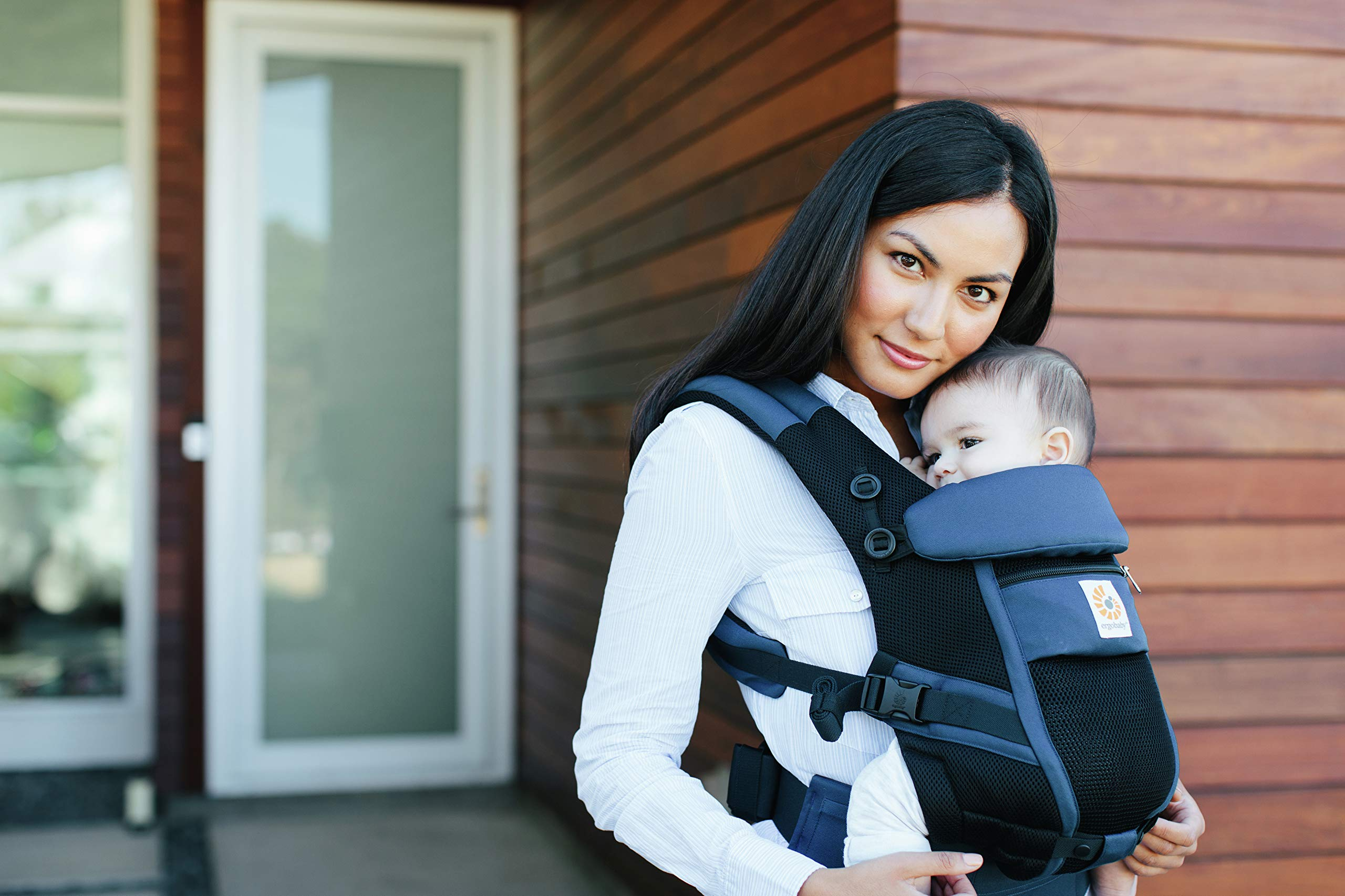 Ergobaby Baby Carrier for Newborn to Toddler, Raven Ergobaby Baby carrier for new-borns - the ergonomic bucket seat gradually adjusts to your growing baby, to ensure baby is seated in a natural frog-leg position (m-shape position) New - now with lumbar support. long-wearing comfort for parents with even weight distribution between hips and shoulders. Adapt 3 carry positions: front-inward, hip and back. the carrier has a padded, foldable head and neck support and a tuck-away baby hood for sun protection (upf 50+) and privacy. 5