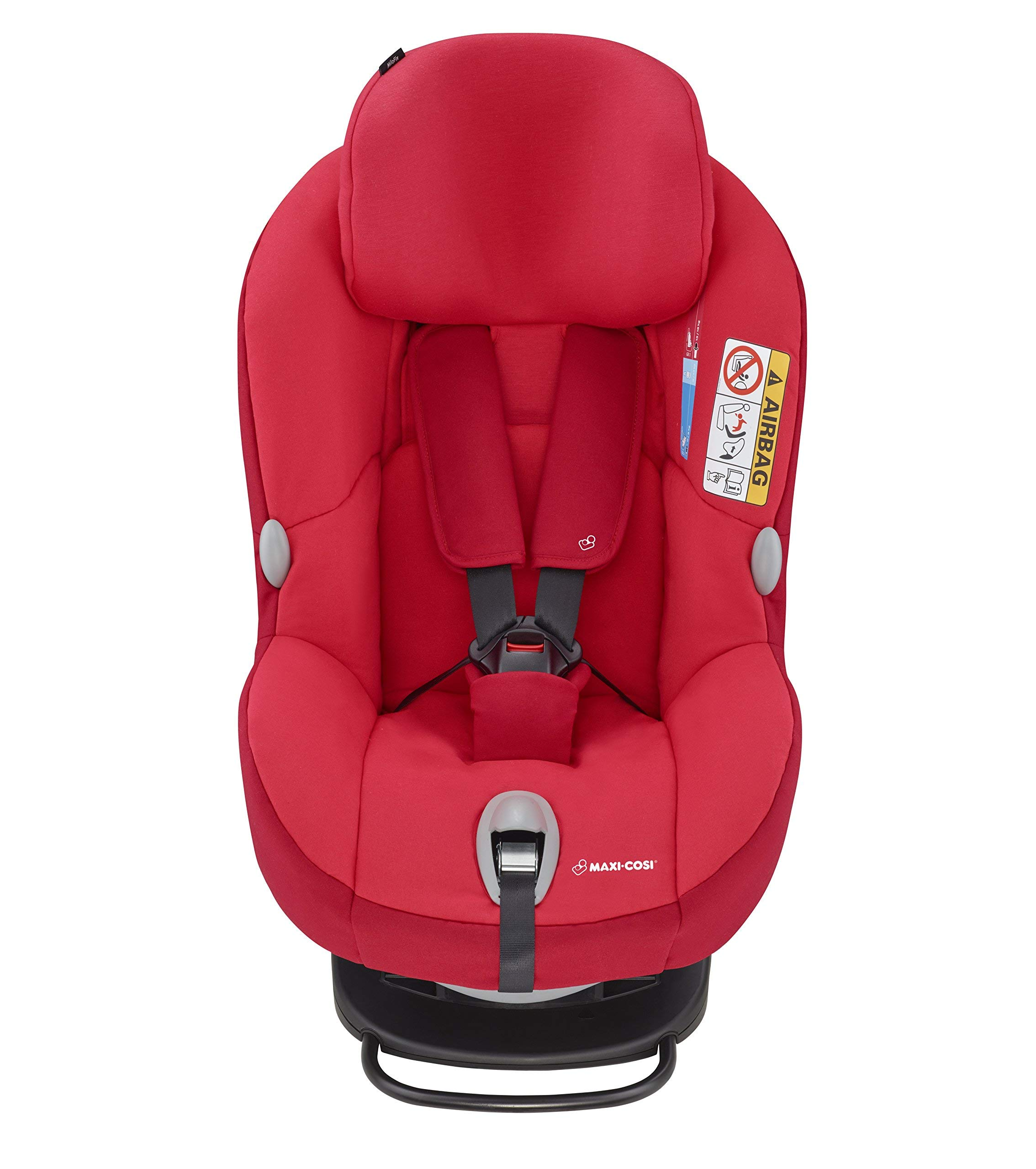Maxi-Cosi MiloFix ISOFIX Combination Car Seat, Group 0+/1 car seat, Rear and Forward-facing, 0-4 years, 0-18 kg, Vivid Red Maxi-Cosi Rear and forward facing group 0+/1 car seat, suitable from birth to 18 kg (birth to 4 years) i-Size car seat, extended rearward-facing travel up until 18 months Padded seat and angled base provide additional leg room in rear-facing position 2