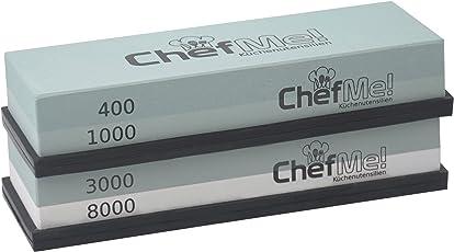 ChefMe! Schleifstein-Set 400/1000/3000/8000 Komplett-Paket | Wetzsteine zum Messer schärfen | Abziehsteine mit rutschfester Unterlage und deutscher Anleitung