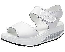 DAFENP Sandalias Plataforma Mujer Verano Sandalias Cuña Comodas Cuero Zapatos Tacon para Caminar