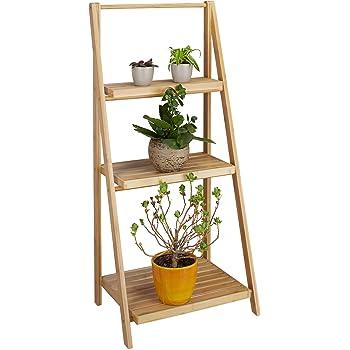 2 tlg Blumentreppe Set Blumenständer Pflanzentreppe Leiterregal Holz mehrstöckig
