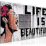 tafeldecoratie Banksy Muur Life Is Beautiful - 200 x 80 cm canvas kamer appartement met uitzicht - klaar te hangen - 301355