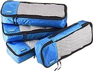 AmazonBasics Schmale Kleidertaschen, 4 Stück, Blau