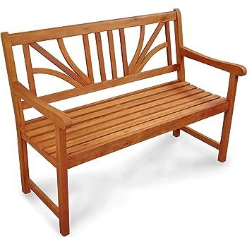 IND-70025-GB25 Gartenbank 2-Sitzer Lotus, Sitzbank aus Holz - 120 x 61 x 88 cm