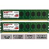Komputerbay 8GB (2x 4GB) DDR3 DIMM (240 pin) 1333Mhz PC3-10600/PC3-10666 9-9-9-25 1.5v