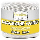 Creative Deco 300 m Wit Macrame Koord Katoenen Koord | 2-3 mm (+-0.5 mm) Dikte 12-laags Koord | 985 Voeten | Grote Touwrol Na