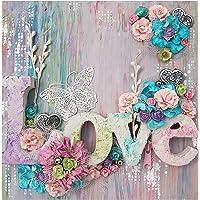 VETPW Kit de Peinture Diamant Fleurs 5D, Peinture par Numéro Kit, Amour, Papillon Bricolage Strass Diamond Pasted…