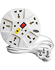 eSYSTEMS Extension Board, 6 Amp Multi Plug Point Strip, Led Indicator & Universal Sockets, Extension Cord (White)