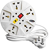 eSYSTEMS Extension Board, 6 Amp Multi Plug Point Strip, Led Indicator & Universal Sockets, Extension Cord (Red Wire)