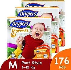 Drypers Drypantz Medium Size Pant Diaper (Monthly Pack, 176 Counts)