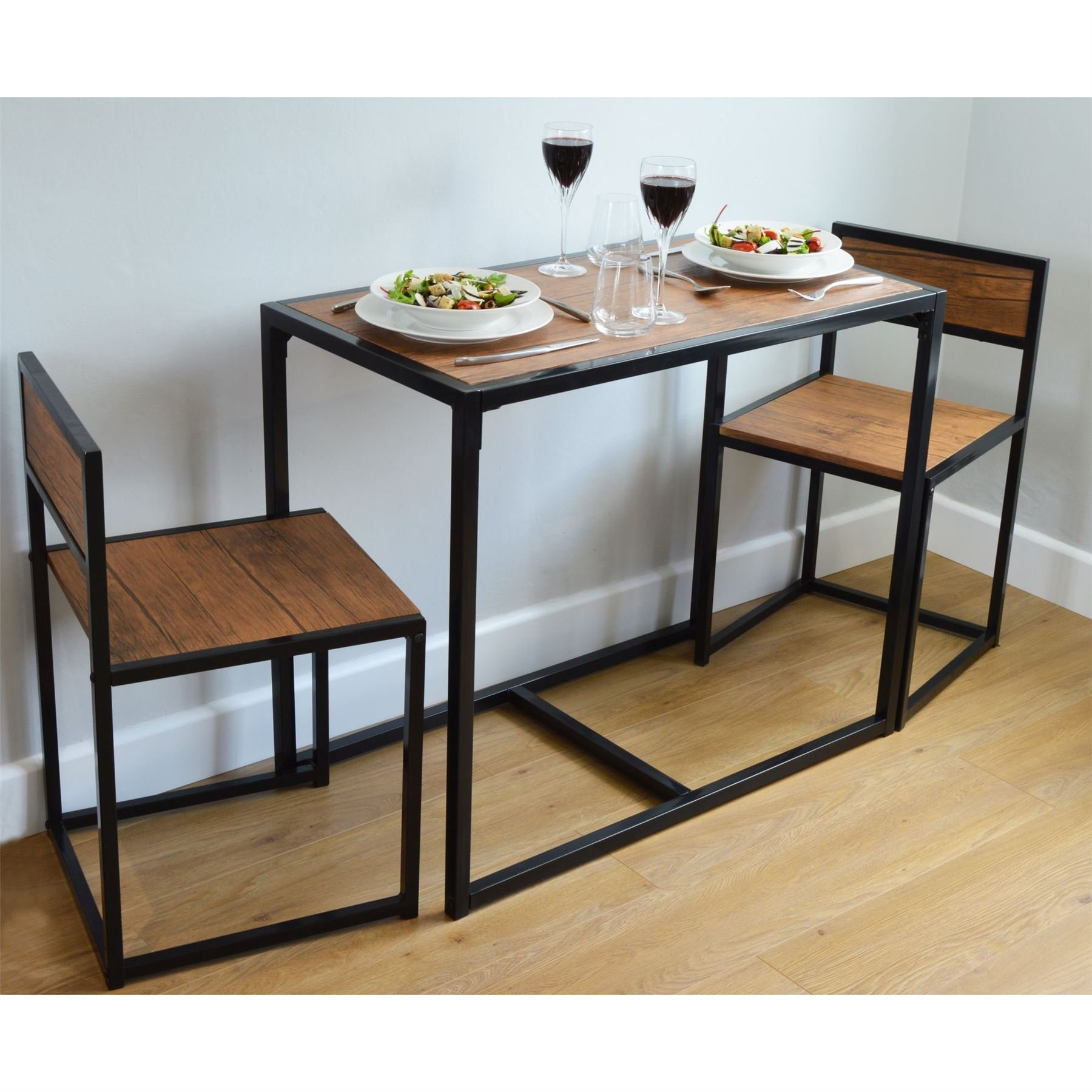 Harbour Housewares, Set con Tavolo da Pranzo e Sedie, per 2 Persone, Salva  Spazio, Compatto