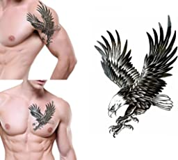 Temporary Tattoo For Girls Men Women 3D Flying Eagle Sticker Size 19x12CM - 1PC.