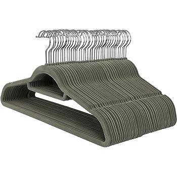 SONGMICS Cintres en Velours, Lot de 50, Crochet pivotant à 360°, Antidérapant, pour Costumes/Chemises/Robes/Cravates, Gris, CRF50V