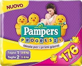 Pampers Progressi Primi Giorni, 56 Pannolini Taglia 1 (2-5 kg) e 120 Pannolini Taglia 2 (3-6 kg)
