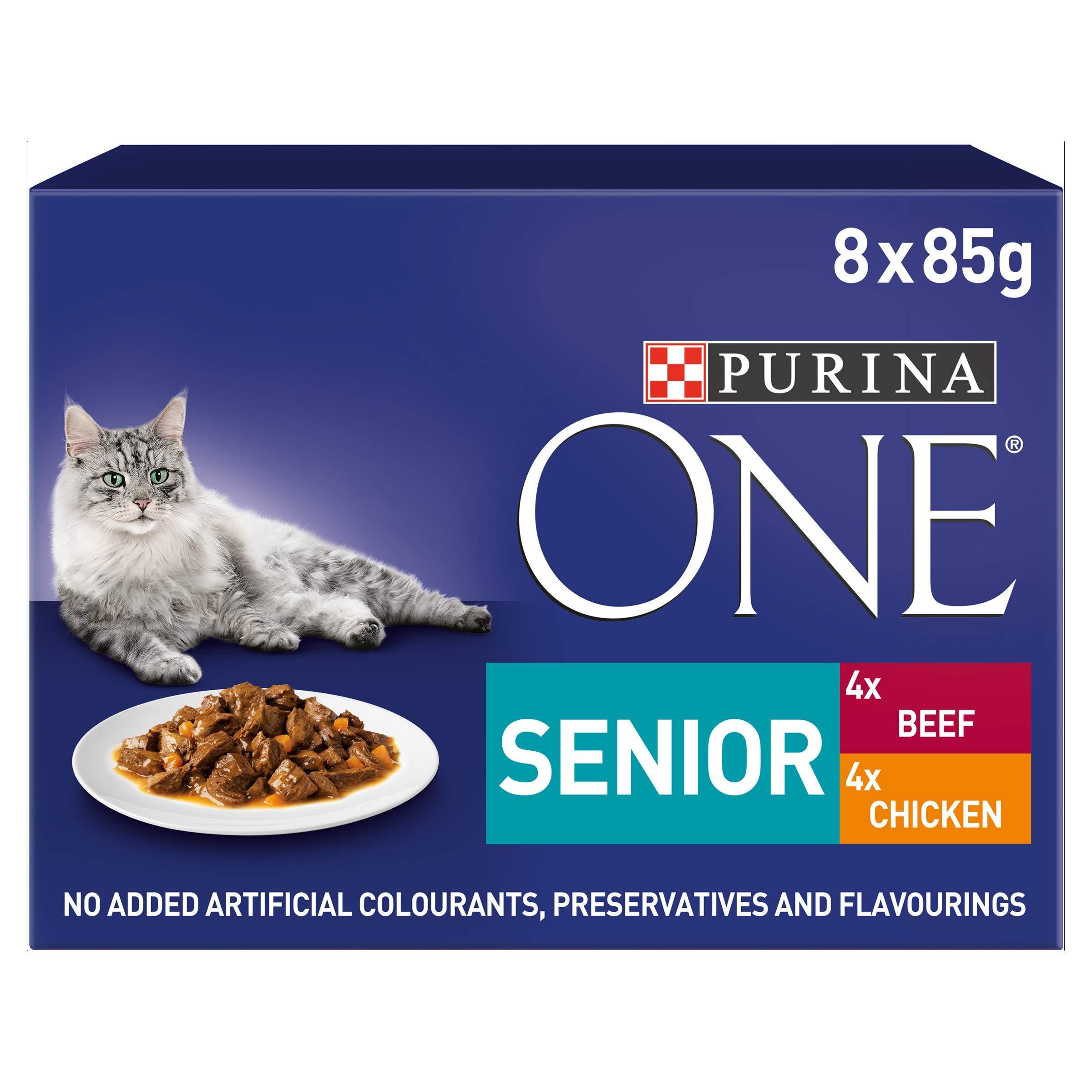 PURINA ONE Comida para Gatos Senior 7+, de Pollo y Carne, 40 Bolsas de 85 g (5 x 8)