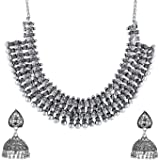 Yellow Chimes German Silver Oxidised Jewellery Set Traditional Choker Necklace Set for Women and Girls