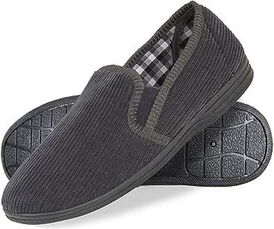 Mens Comfortable Corduroy Slippers Comfy Warm Flexible Rubber Sole Full Elasticated Twin Gusset Slip On Classic Men's Gents Slipper Navy Grey Indoor Outdoor Shoe UK Size 6 7 8 9 10 11 12