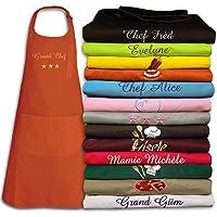 Tablier coton personnalisé et brodé avec un prénom, texte, TOP QUALITE, 17 coloris, 22 motifs, cuisine top chef, cadeau…