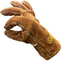 Cosystove Genuine Leather High Quality Heavy Duty Heat Resistant Safety Gauntlet Gloves for Woodburner Multi-Fuel Wood…