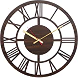 Simran Handicrafts Round Roman Wood Carving MDF Design Wall Clock, Perfect for Office, Classroom, Bedroom, Living Room, Resta