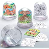 Baker Ross AR618 Woodland Animal Colour-in Snow Globes Value Pack — Creative Art and Craft Supplies for Kids to Make…