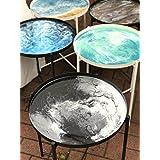 Mesa de centro de resina con efecto mármol, elija su color, 44 cm de diámetro, arte de resina, mesa de mármol, personalizar,