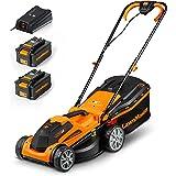 LawnMaster Cortacésped con Batería de 24 V, 4,0 Ah, 2 baterías, 1 Cargador rapido, Ancho 300 m² de Corte 34 cm, 5 Niveles de
