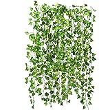 Niceclub 12-pack konstgjorda grönska girlang falsk murgröna vinranka hängande växter bladkrans för bröllopsfest väggdekoratio