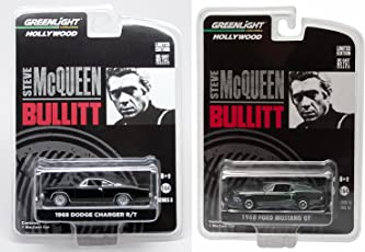 Steve Mcqueen Set Hollywood Movie Series 3 Car Set Greenlight 1968 Dodge Charger & Bullitts 1968 Ford Mustang Gt