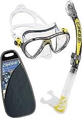 Cressi Big Eyes Evolution & Alpha Ultra Dry - Professional Combo Set per Immersioni e Snorkelling, Trasparente/Giallo [Prodotto in Italia]