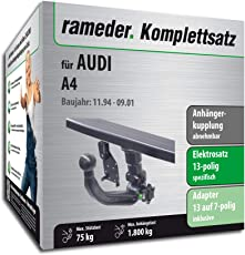 Rameder Komplettsatz, Anhängerkupplung Abnehmbar + 13pol Elektrik für Audi A4 (142587-00253-1)