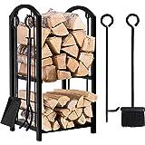 Amagabeli Porte bûches de cheminée avec 4 outils 74 x 40 x 30cm Ensemble d'outils de Cheminée Grande Capacité Range-bûches Su