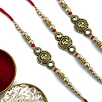 Bandhan Rakhi Set of 3 Beautiful Rakhis for your Brother | Rakhi for Bhaiya with Roli-Chawal Pack| Multiple Varieties of Rakhi Designs(MBO3)