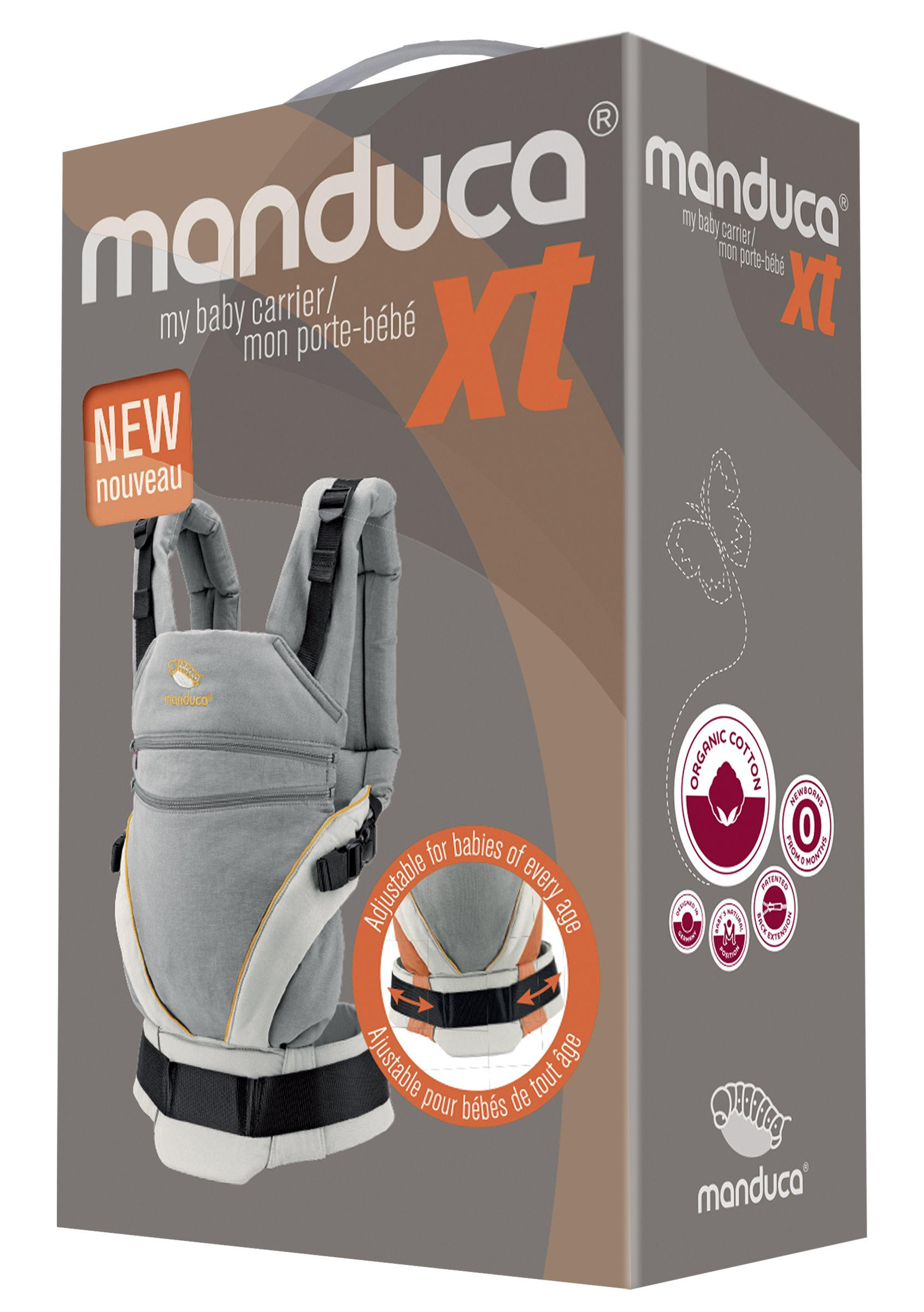 manduca XT > grey- orange < Baby Carrier with Adjustable Seat, 3 Carrying Positions (Front, Hip & Back), No Infant Insert Needed, Organic Cotton, Grows with your Baby from Birth to Toddler (3.5- 20kg) Manduca This baby carrier adapts from newborn to toddler. Infinitely adjustable seat (16-50cm) without buttons, knots, Velcro or cord system. Novel tension arches support baby's spine & hip Three height options thanks to the patented back extension & integrated zip-in. Multifunctional headrest (classic hood or rolled up as neck support). No accessories needed. One Size 3 carry positions: front, hip and back carrier. Not intended for face-out position. Supports the squat-spread position (M-Position) 10