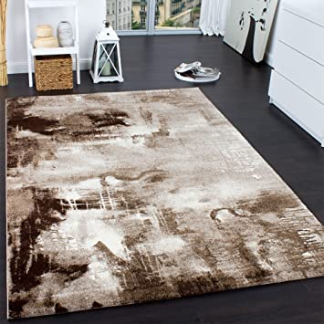 Teppich braun beige  Teppich Modern Designer Teppich Leinwand Optik Meliert Braun Beige ...