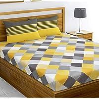 Loreto – A Quality Linen Brand 144 TC 100% Cotton Double Bedsheet with 2 Pillow Covers - Multi Colour