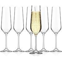 SAHM Verre Champagne   Flute Champagne   Lot de 6   Verre a Champagne 200ml   Coupe Champagne Cristal   Lavable au Lave…