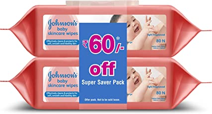 Johnsons Baby Wipes (2 Packs, 80 Sheets per Pack)