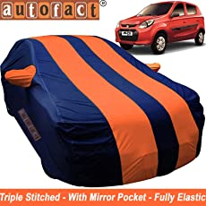 Autofact Car Body Cover for Maruti Alto 800 (Mirror Pocket , Premium Fabric , Triple Stiched , Fully Elastic , Orange / Blue Color)