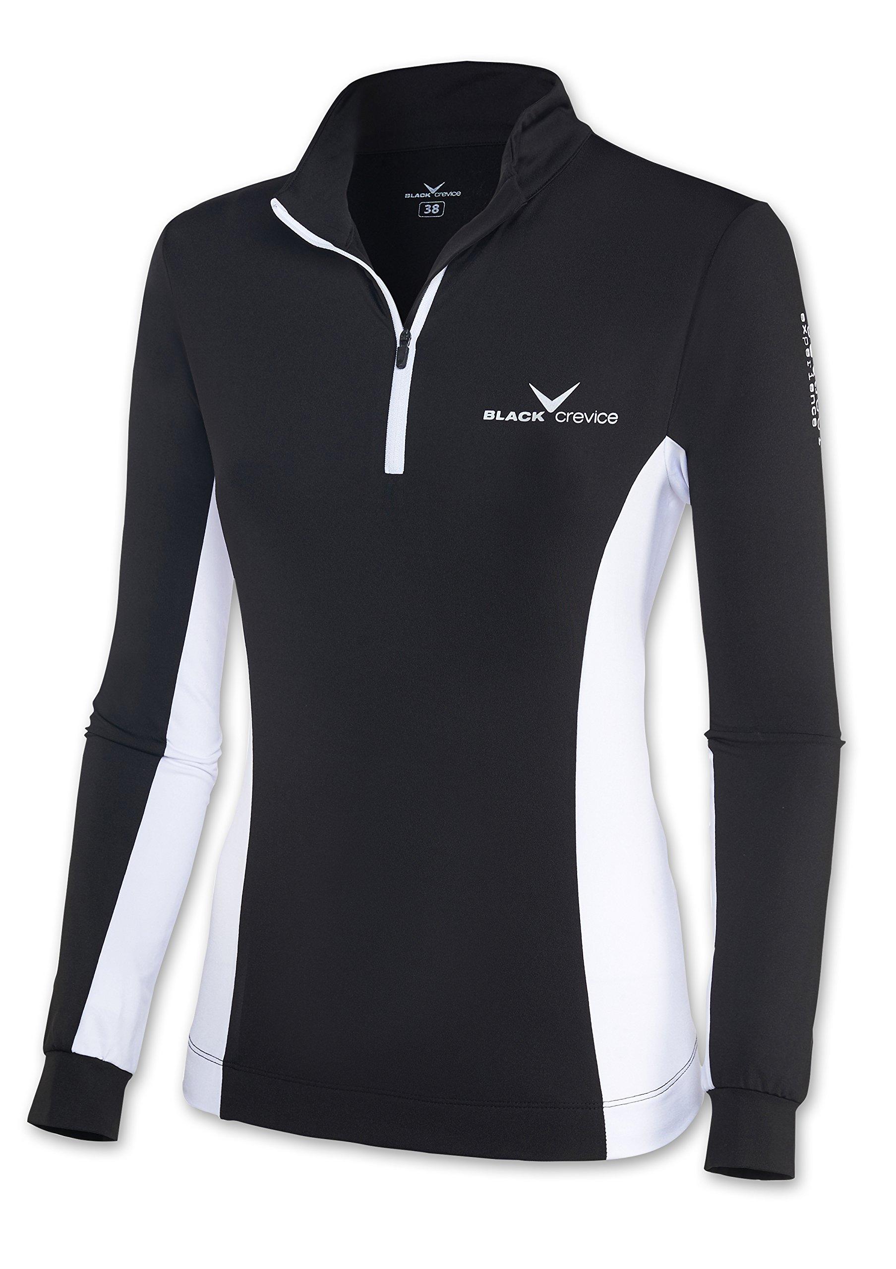 Black Crevice Damen Skirolli Zipper Ski Shirt, Schwarz (Schwarz/Weiß), 34
