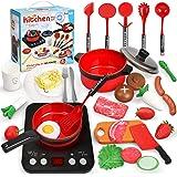 Ustensiles de Cuisine Enfant, Accessoire Cuisine Complete avec Cuisinière à Induction, Batterie de Cuisine, Vaisselle…