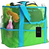 Faletony XXL Netz-Strandtasche Familie Mesh-Strand-Tasche Netztasche für Sandspielzeug, Extra Große Familie Mesh Beach Bag To