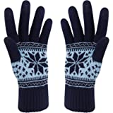 Winter Touch Screen Gloves Snow Flower Printing Keep Warm for Women and Men