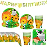 Amycute Animali della Giungla Compleanno Decorazione della Tavola, Inclusi Striscioni, Piatti, Bicchieri, Tovaglia, Bambini C