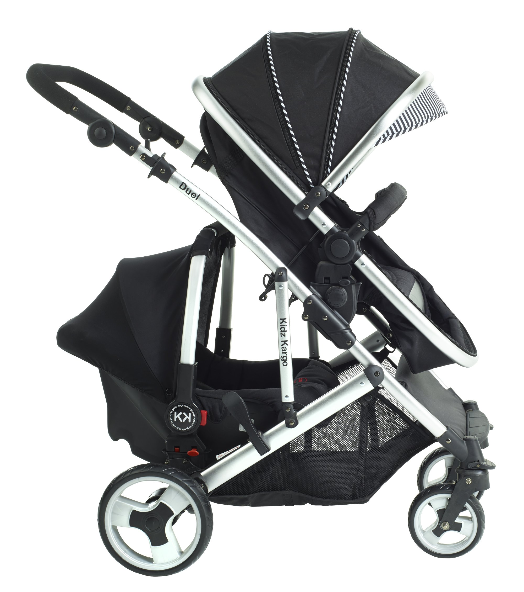 Duel combo Double pushchair with carrycot pram includes 2 FREE footmuffs Newborn & toddler, tandem travel system buggy convertible carrycot to seat unit and toddler/child seat unit, Midnight Black by Kids Kargo Kids Kargo The carrycot when converted to seat unit, can be rear or forward facing. Versatile. Suitable for Newborn and toddler: Carrycot with mattress and soft lining, which zip off. Remove lining and lid, when baby grows out of carrycot mode. Converts to a full sized seat unit, with 5 point harness. Bucket seat unit for toddler or baby over 6 months sits in forward facing bottom position , or forward and rear facing at the top, if car seat used at the bottom. 2