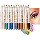 Mimore Lápiz de sombra de ojos 12 colores/juego Pluma de sombra de ojos con brillo Delineador de ojos profesional Lápiz de oj